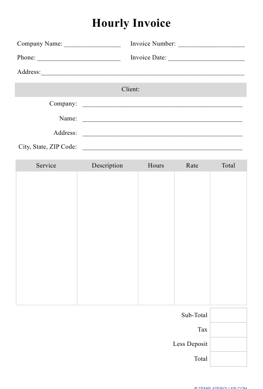 Hourly Invoice Template Download Printable Pdf Templateroller