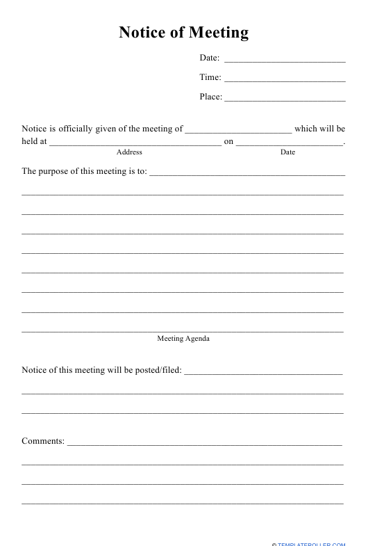 """""""Notice of Meeting Template"""" Download Pdf"""