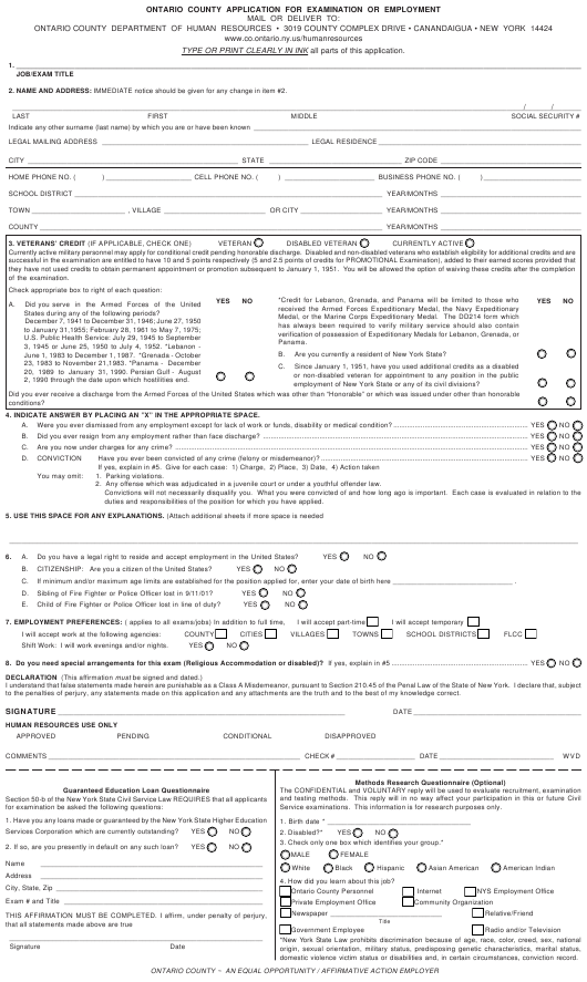 """Application Form for Examination or Employment"" - Ontario County, New York Download Pdf"