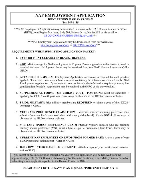 """Naf Employment Application Form"" Download Pdf"