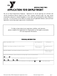 """Application Form for Employment - Ymca"""