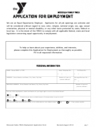Application Form for Employment - Ymca