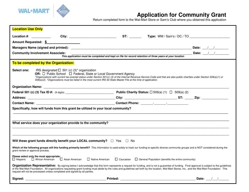 """Community Grant Application Form - Walmart"" Download Pdf"