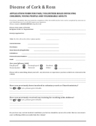 Application Form for Paid/ Volunteer Roles Involving Children, Young People and Vulnerable Adults - Diocese of Cork & Ross