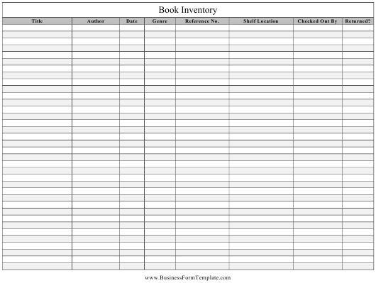 """""""Book Inventory Template"""" Download Pdf"""