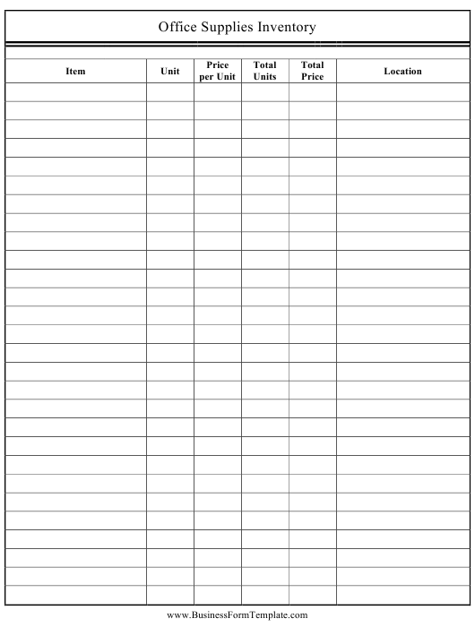 """""""Office Supplies Inventory Template"""" Download Pdf"""