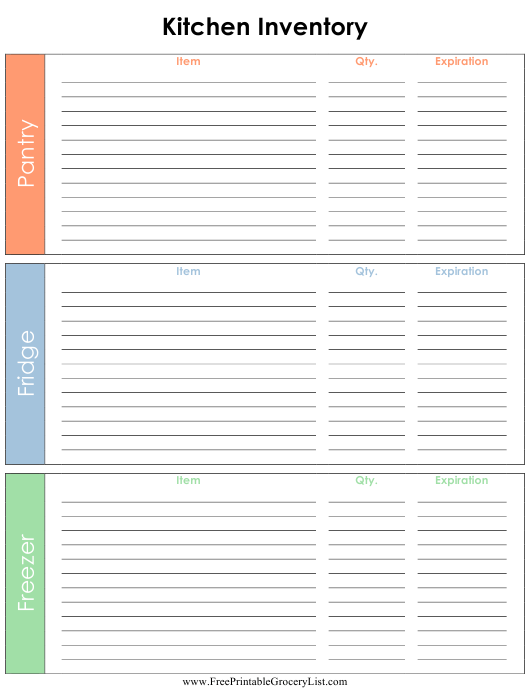 """""""Kitchen Inventory Template"""" Download Pdf"""