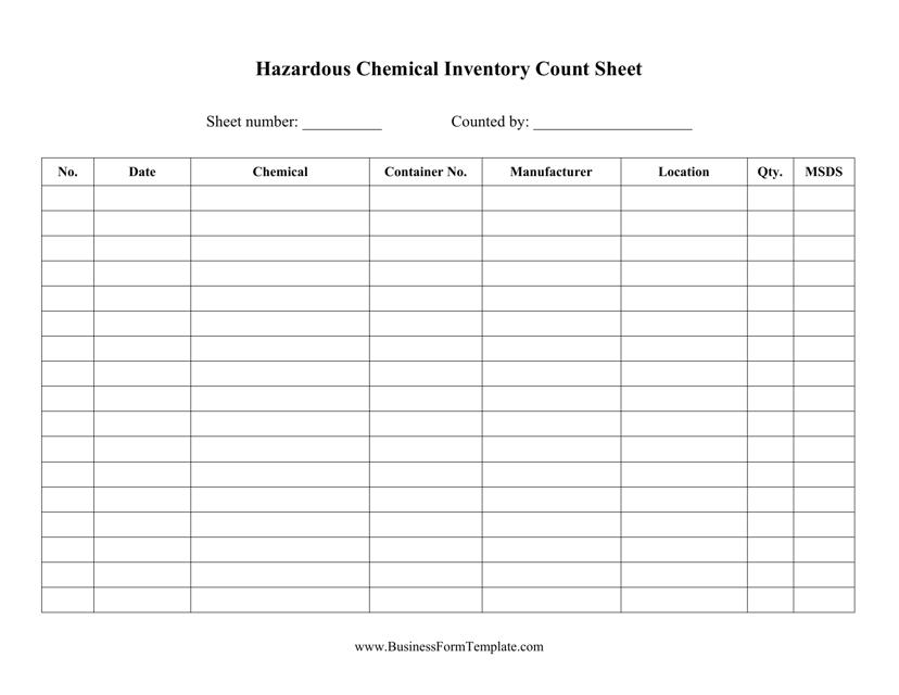 """Hazardous Chemicals Inventory Template"" Download Pdf"