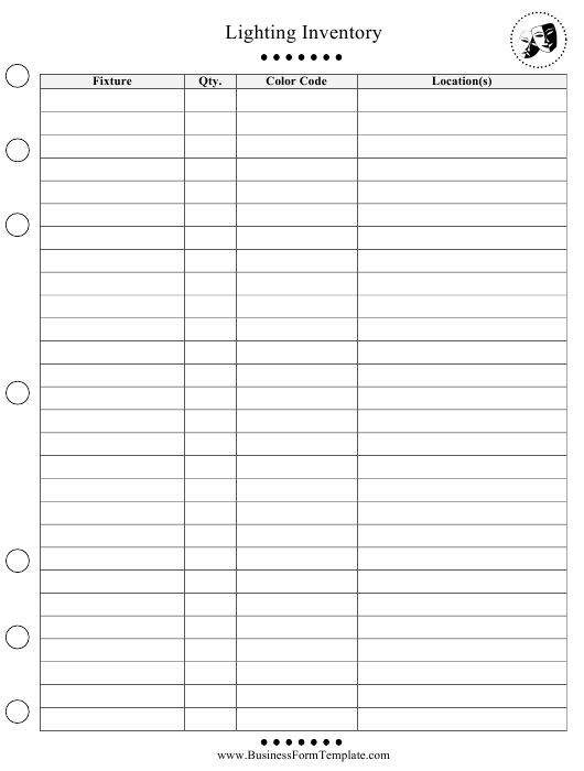 """""""Lighting Inventory Template"""" Download Pdf"""