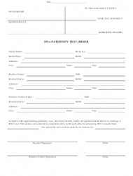 Dna Paternity Test Order Form