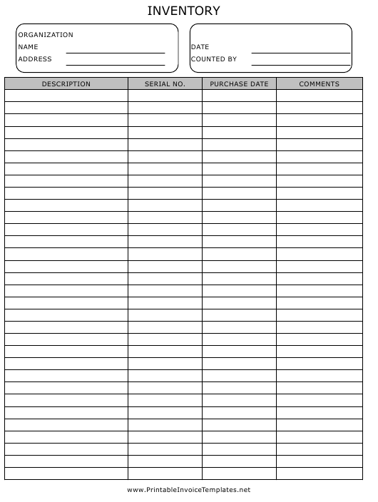 """""""Inventory Template"""" Download Pdf"""