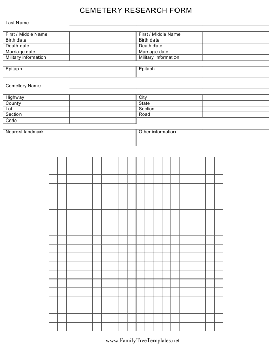 """""""Cemetery Research Form"""" Download Pdf"""
