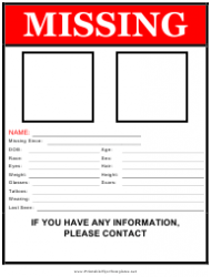 Missing Person Flyer Template With Two Pictures