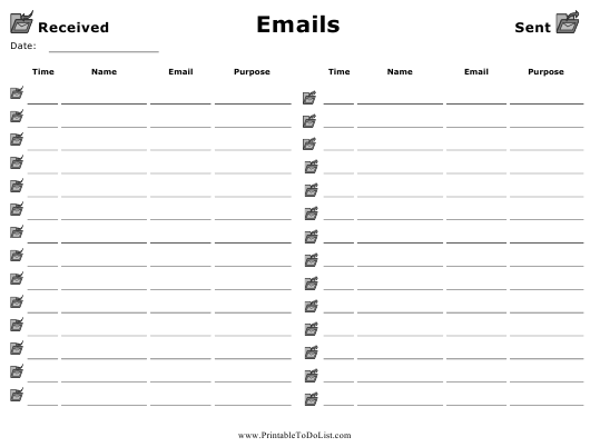 """Incoming/Outgoing Email Log Template"" Download Pdf"