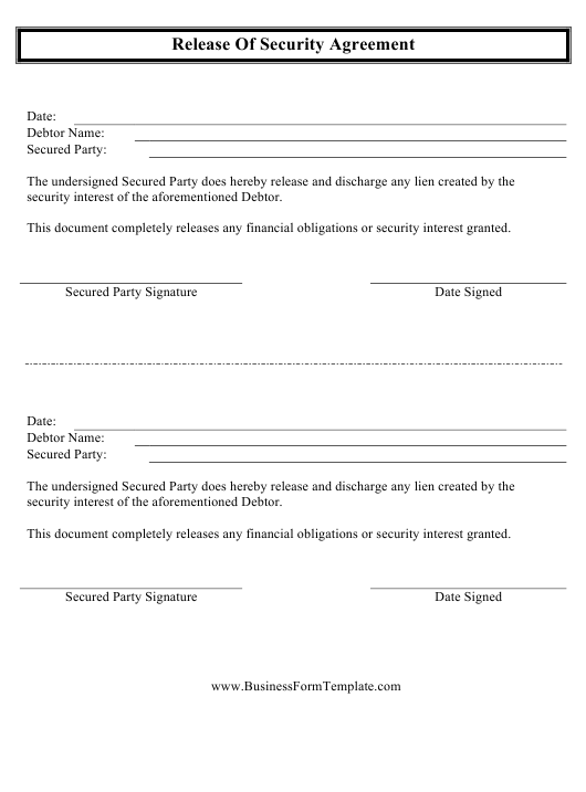 Release Of Security Agreement Template Download Printable Pdf