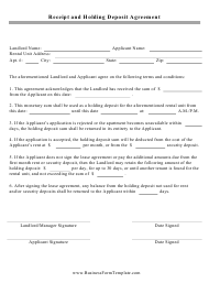 """Receipt and Holding Deposit Agreement Template"""