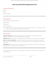 Cake Pop Stand Rental Agreement Form