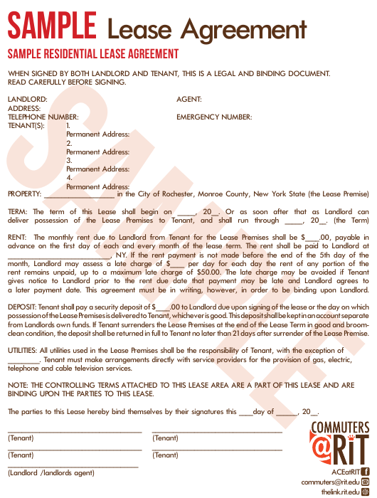 Sample Residential Lease Agreement Form Download Printable Pdf