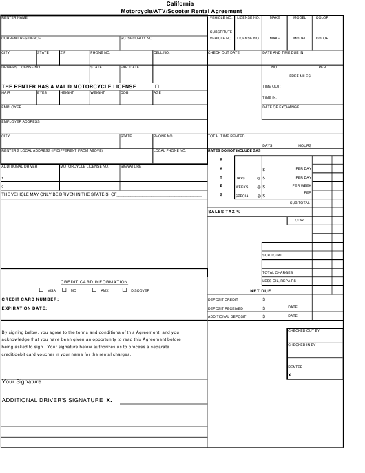 Motorcycleatvscooter Rental Agreement Form Download Printable Pdf