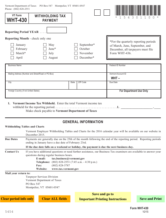 VT Form WHT-430 Download Fillable PDF, Withholding Tax