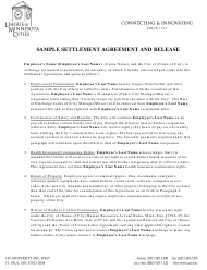 Sample Settlement Agreement and Release Template - League of Minnesota Cities