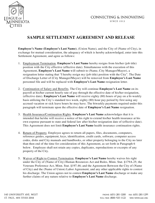 Settlement Agreement And Release Template League Of