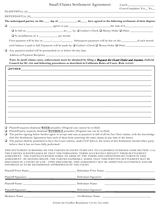 """Small Claims Settlement Agreement Form"" - California Download Pdf"