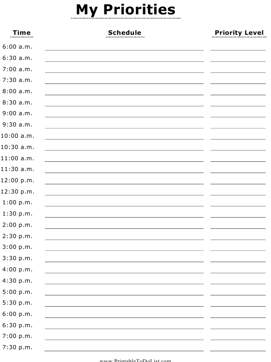 """""""Daily Priorities Schedule Template"""" Download Pdf"""