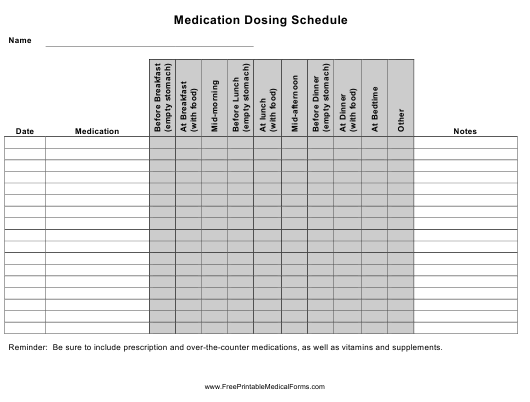 """""""Medication Dosing Schedule Template"""" Download Pdf"""
