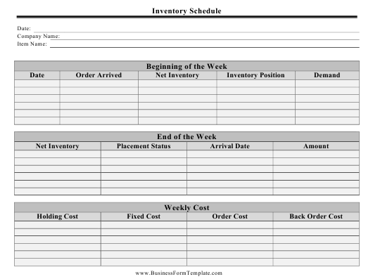 """""""Inventory Schedule Template"""" Download Pdf"""
