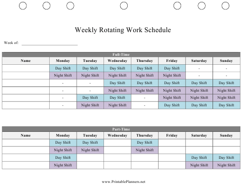"""Weekly Rotating Work Schedule Template"" Download Pdf"