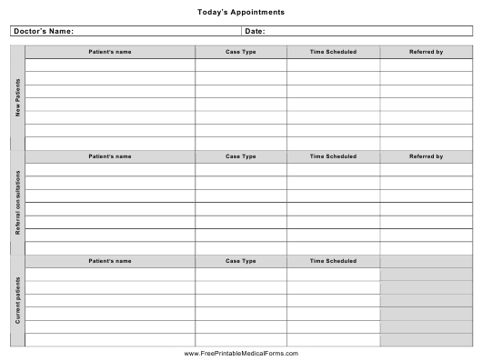 """Today's Appointment Schedule Template"" Download Pdf"