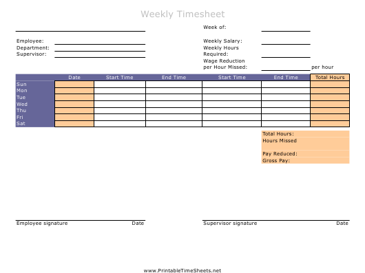 """Weekly Timesheet Template"" Download Pdf"