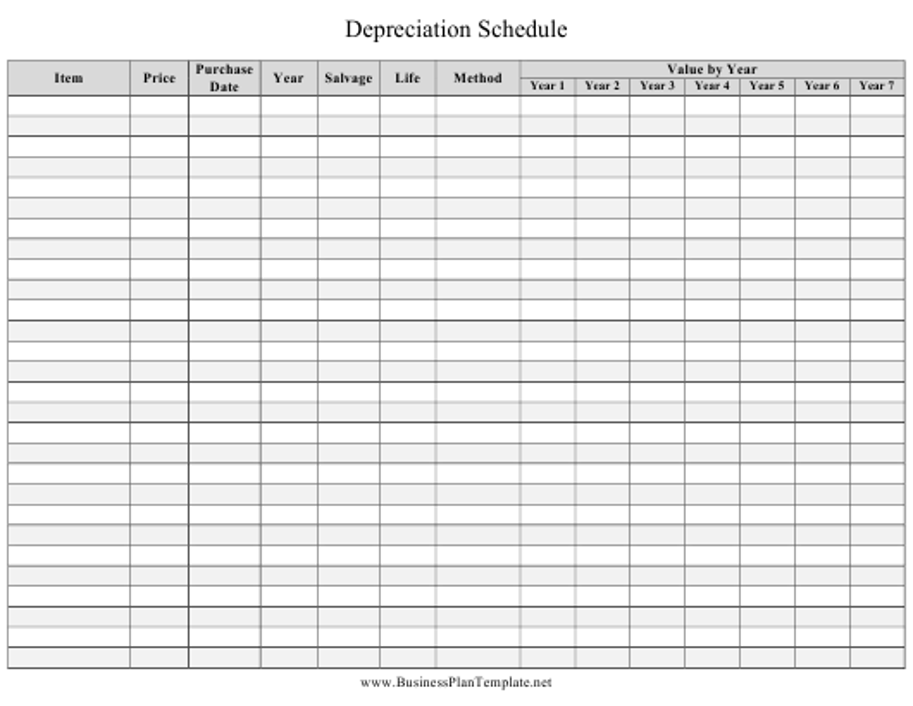"""Depreciation Schedule Template"" Download Pdf"