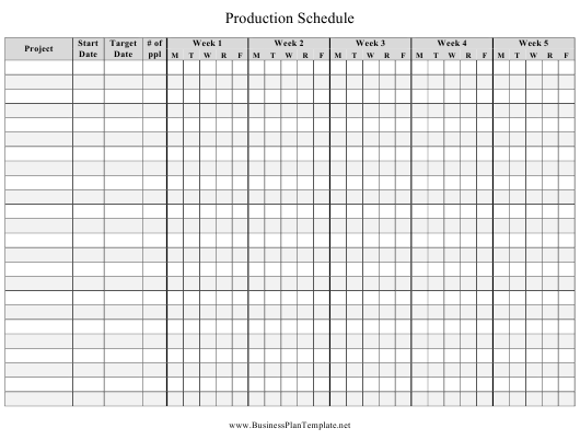 """Weekly Production Schedule Template"" Download Pdf"