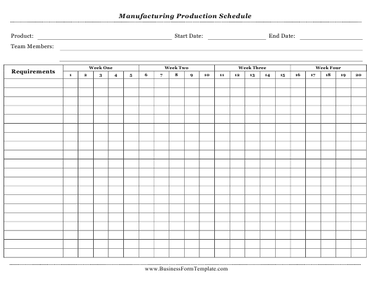 """Manufacturing Production Schedule Template"" Download Pdf"
