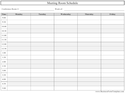 """Meeting Room Schedule Template"" Download Pdf"