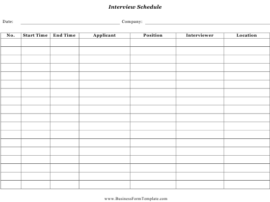 """Interview Schedule Template"" Download Pdf"