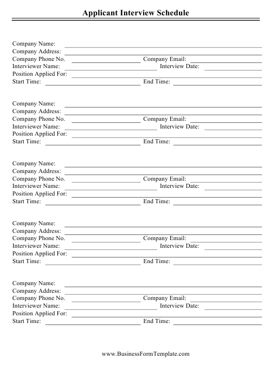 """Applicant Interview Schedule Template"" Download Pdf"
