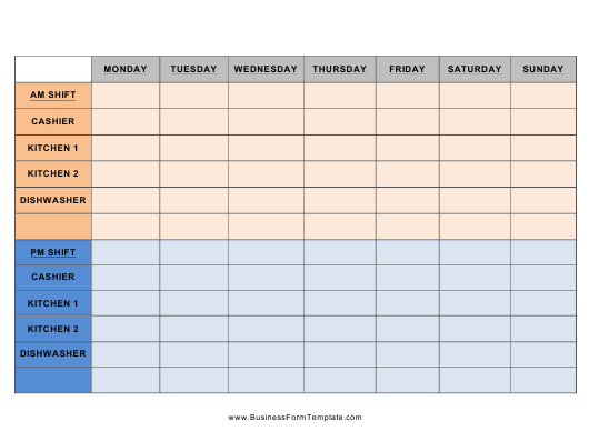 """Shift Schedule Template"" Download Pdf"