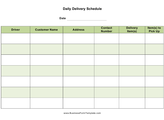 """""""Daily Delivery Schedule Template"""" Download Pdf"""