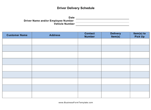 Driver Delivery Schedule Template Download Printable Pdf