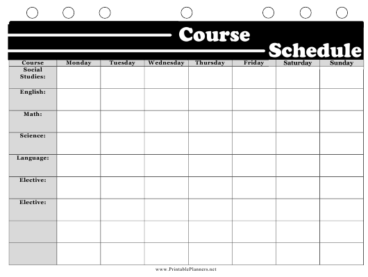 """""""Black and White Course Schedule Template"""" Download Pdf"""