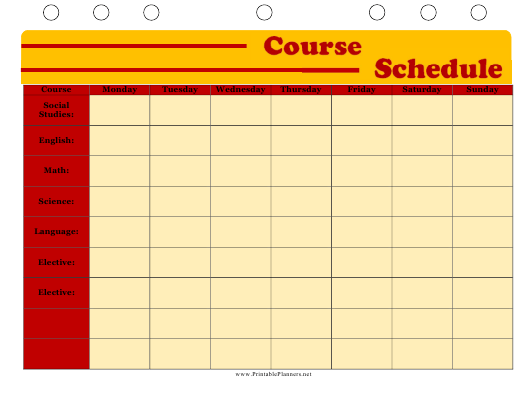 """Course Schedule Template"" Download Pdf"