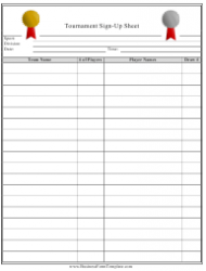 Tournament Sign-Up Sheet Template