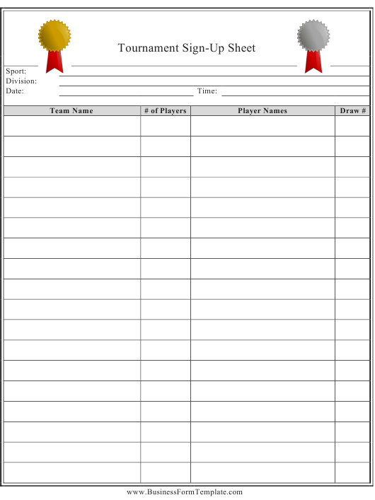 """Tournament Sign-Up Sheet Template"" Download Pdf"
