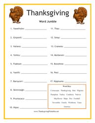 Thanksgiving Word Jumble Template