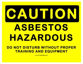 """Caution - Hazardous Asbestos Sign Template"""