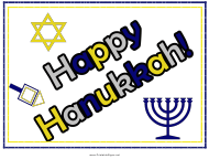 """Happy Hanukkah Sign Template"""