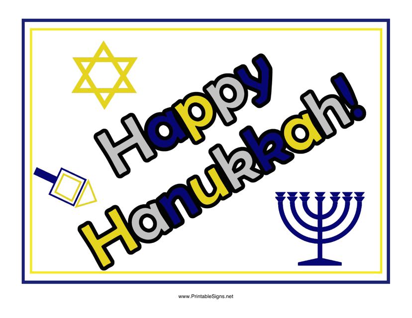 """""""Happy Hanukkah Sign Template"""" Download Pdf"""
